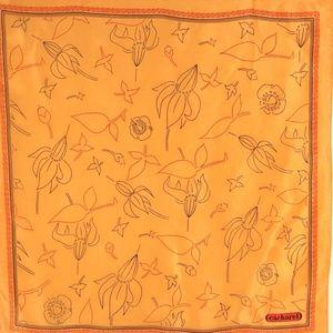 Cacharel Glentex Silk Scarf Orange Floral Vintage